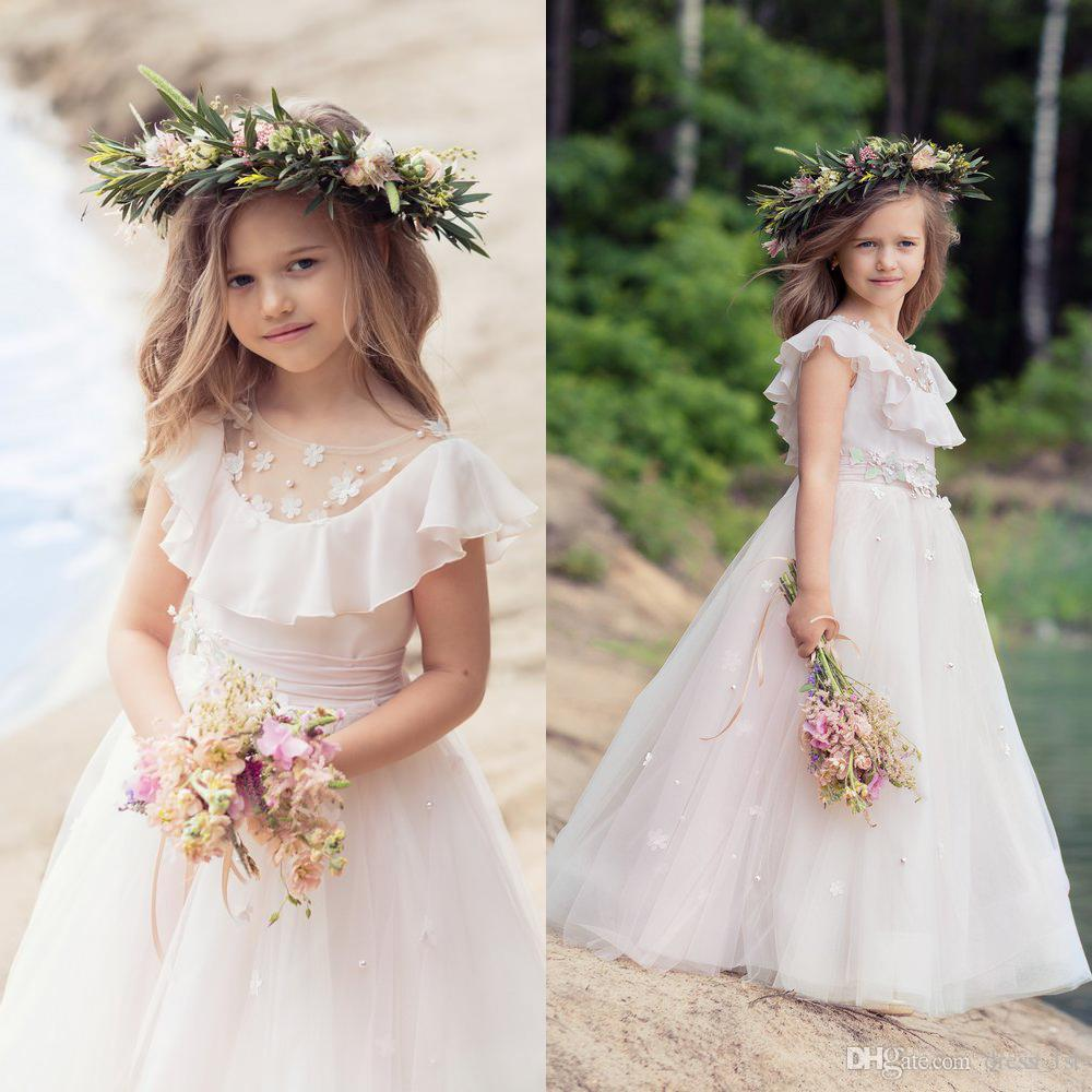 Lovely 2017 Pale Pink Chiffon Tulle Beach Flower Girls Dresses For