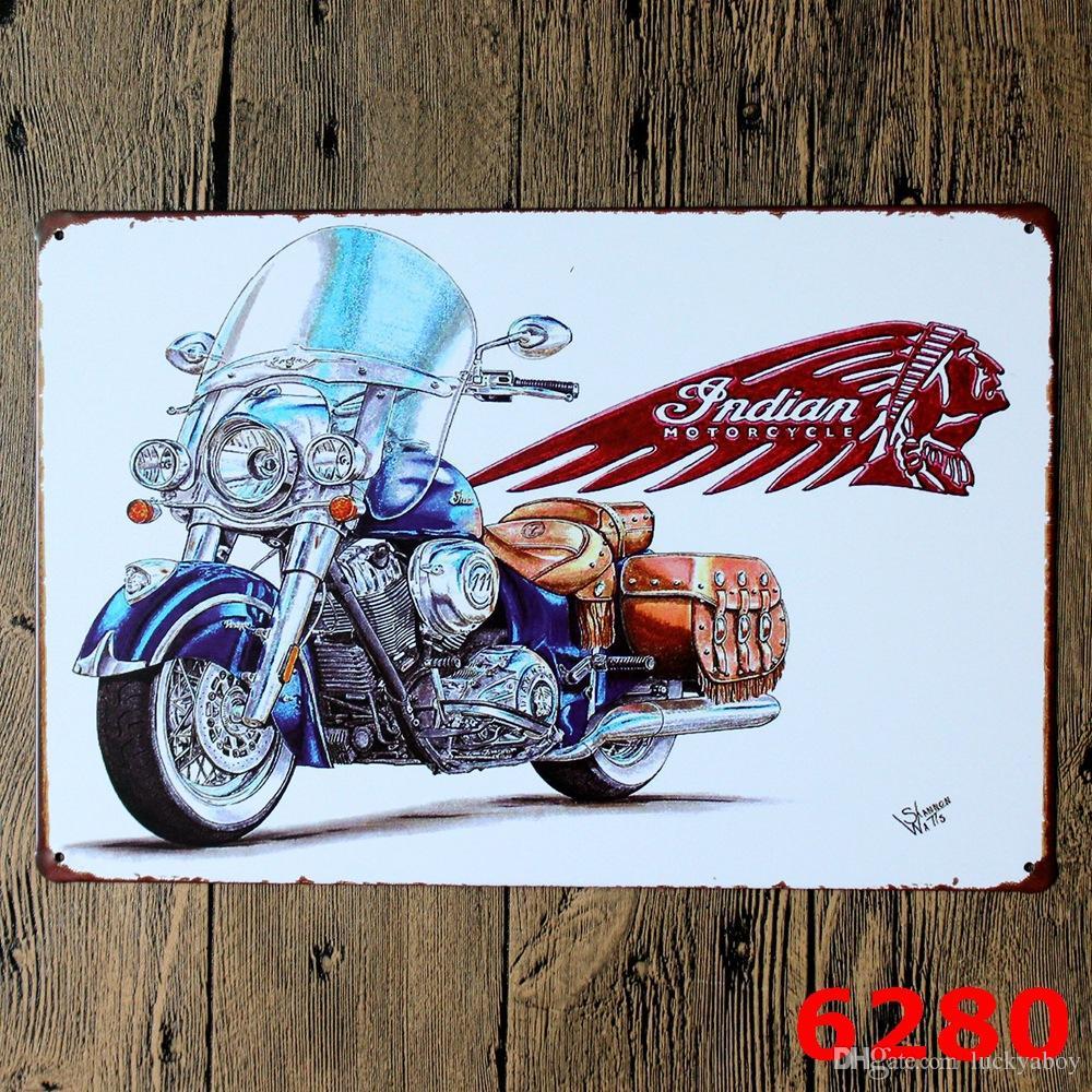 Moto Rétro en métal Affiche Mur Décor Bar Maison Vintage Artisanat Cadeau Art 20x30cm Métal peinture Étain Affiche Des dessins mélangés