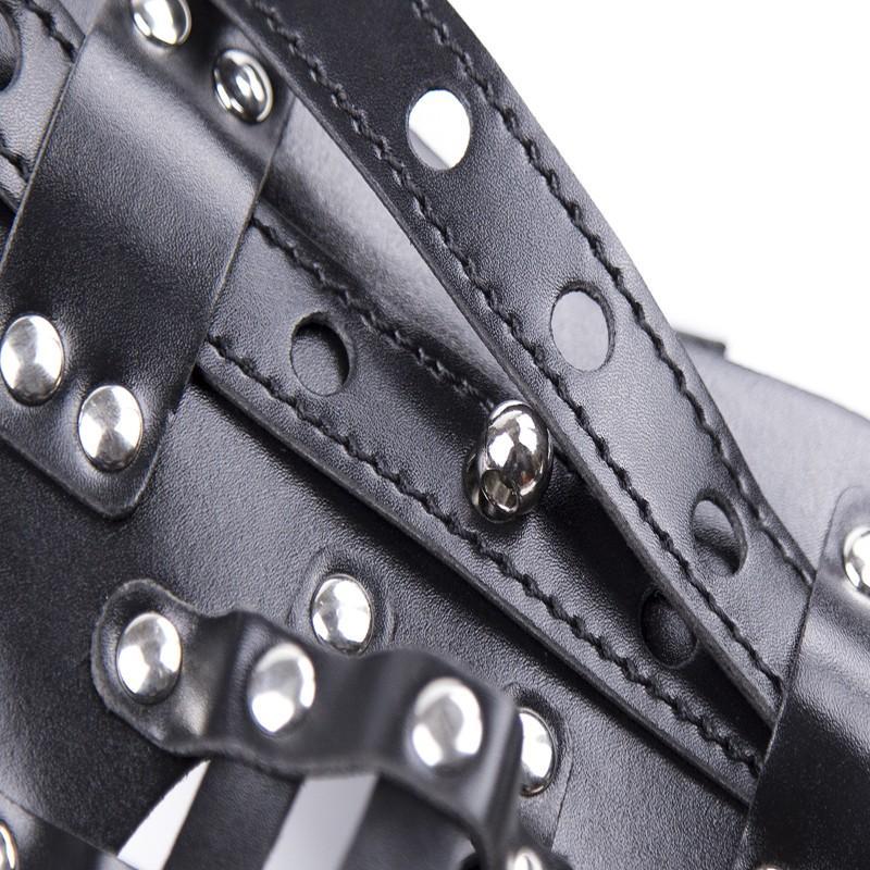 الأسود رصع بانتي سروال جلد قابل للحزام ذكر المنشعب قفص العفة قفص تسخير داخلية ثونغ G سلسلة الوثن زي ملابس داخلية