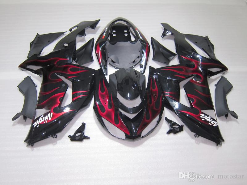 ABS plastic fairing kit for Kawasaki ninja ZX10R 06 07 red flames black injection molded fairings set ZX10R 2006 2007 OT37