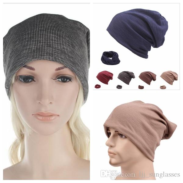 a18548a1743 Fashion Knitted Hats Beanie Scarf Women Chunky Skull Caps Winter ...
