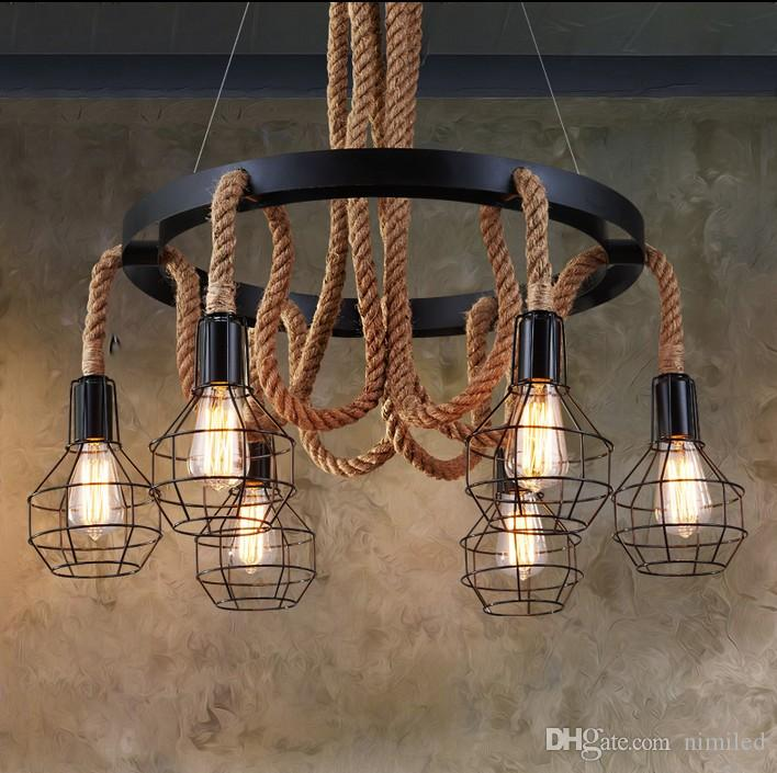New Luxury Retro Rope Industrial Pendant Lights Edison Vintage ...