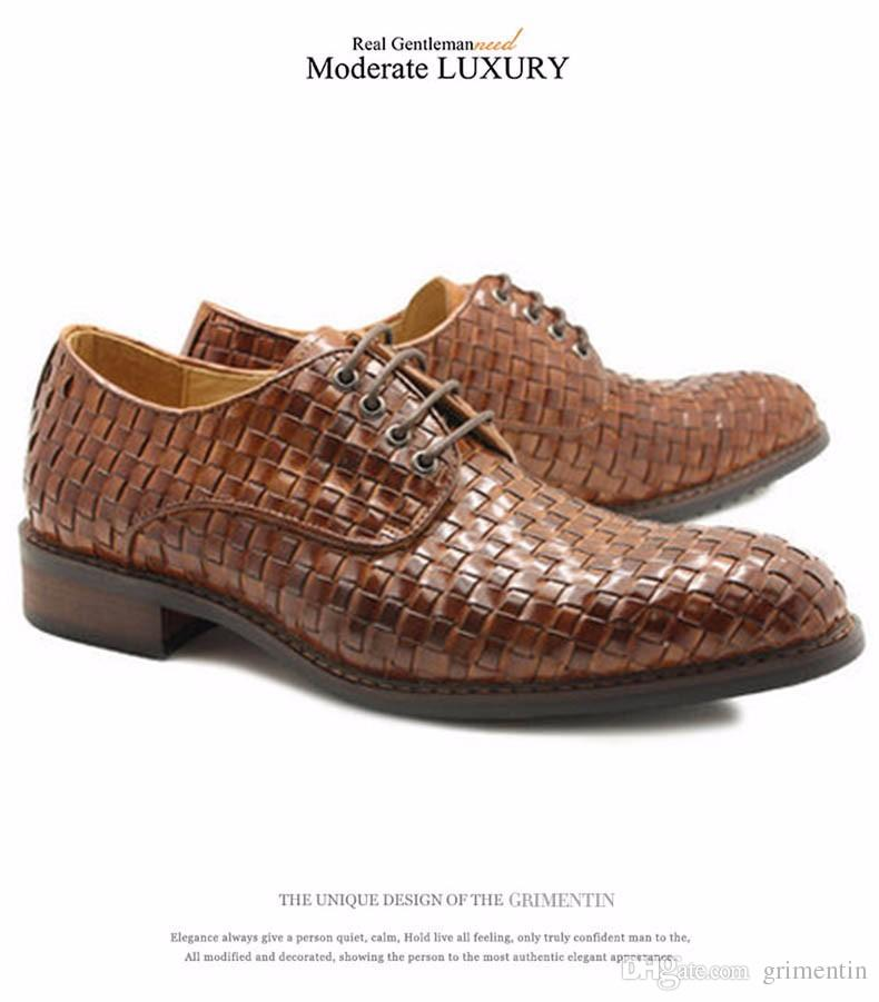 GRIMENTIN Fashion Italian Brand Men Dress Shoes Hot Sale Shoes Genuine Leather Braided Round Toe Mens Business Formal Wedding Male Shoes