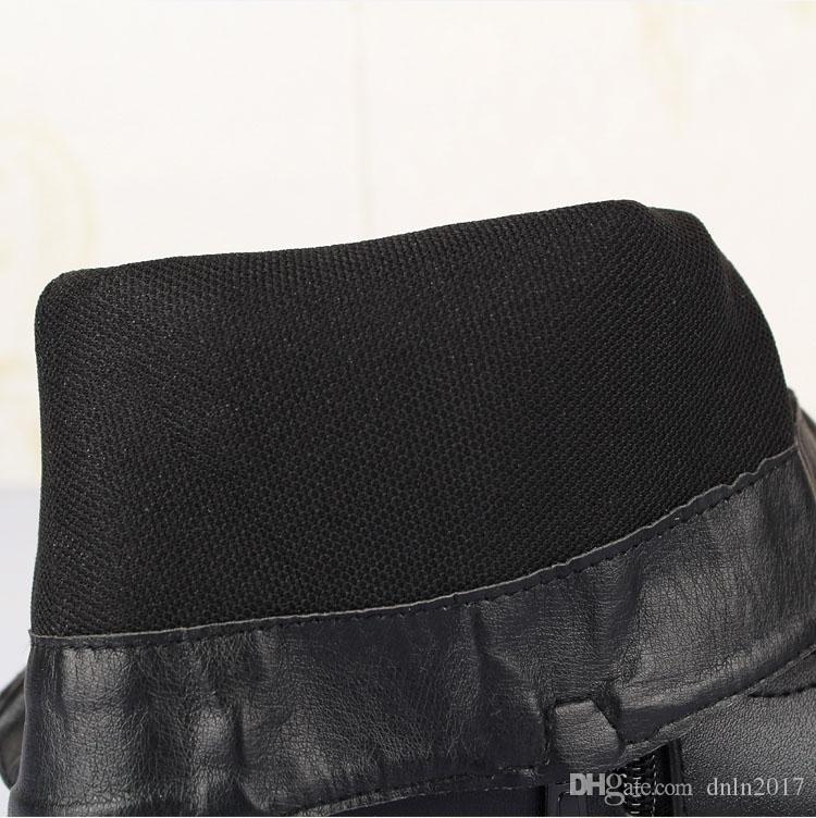 Los hombres estilo británico calidad Botas Invierno Primavera cremallera superior de cuero suave Negro Botas, hecha a mano la nieve punta estrecha Zapatos Hombres 6 # 25 / 20D50