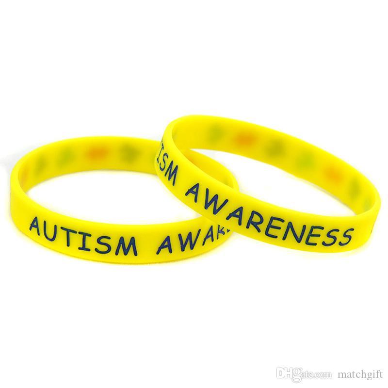 Аутизм Awareness Силиконовый браслет головоломки Логотип Браслет чернил Заполненный цвета Adult Размер подарка промотирования