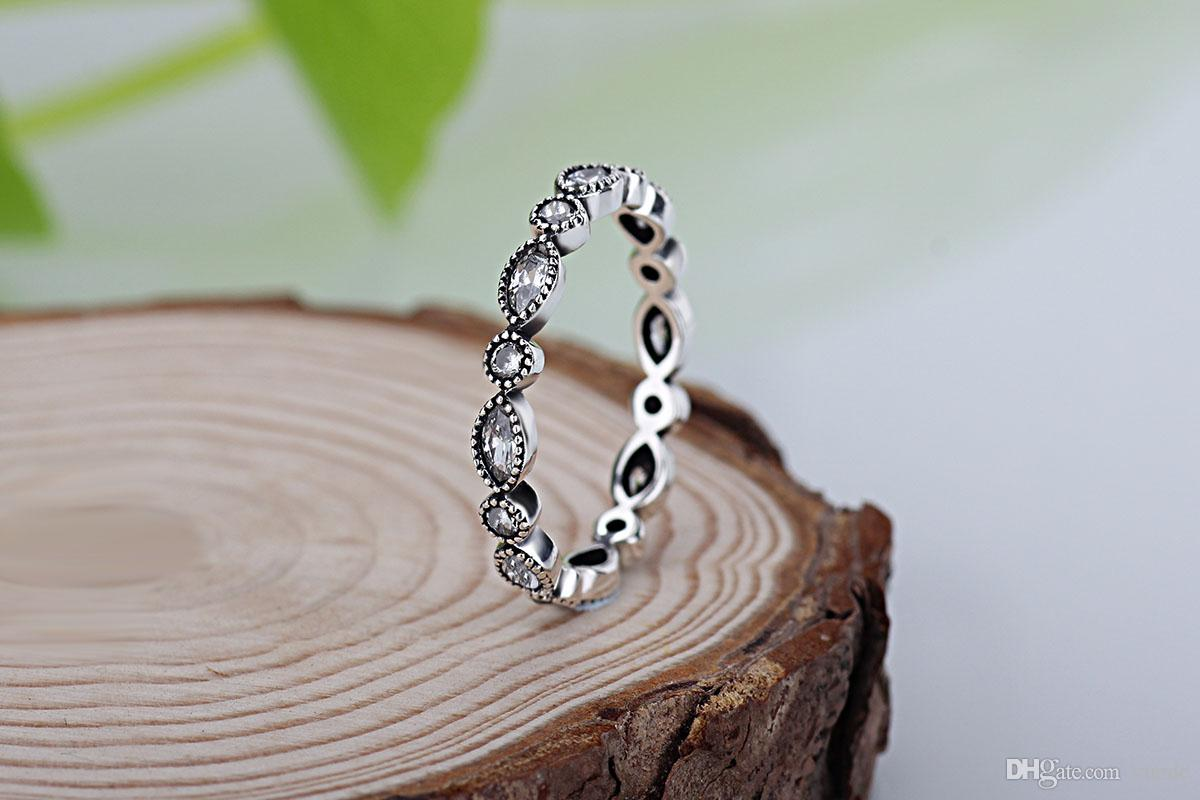 도매 새로운 유럽 복고풍 다이아몬드 925 실버 서명 포장 라운드 링 판도라 큐빅 지르코니아 기념일 보석 rins