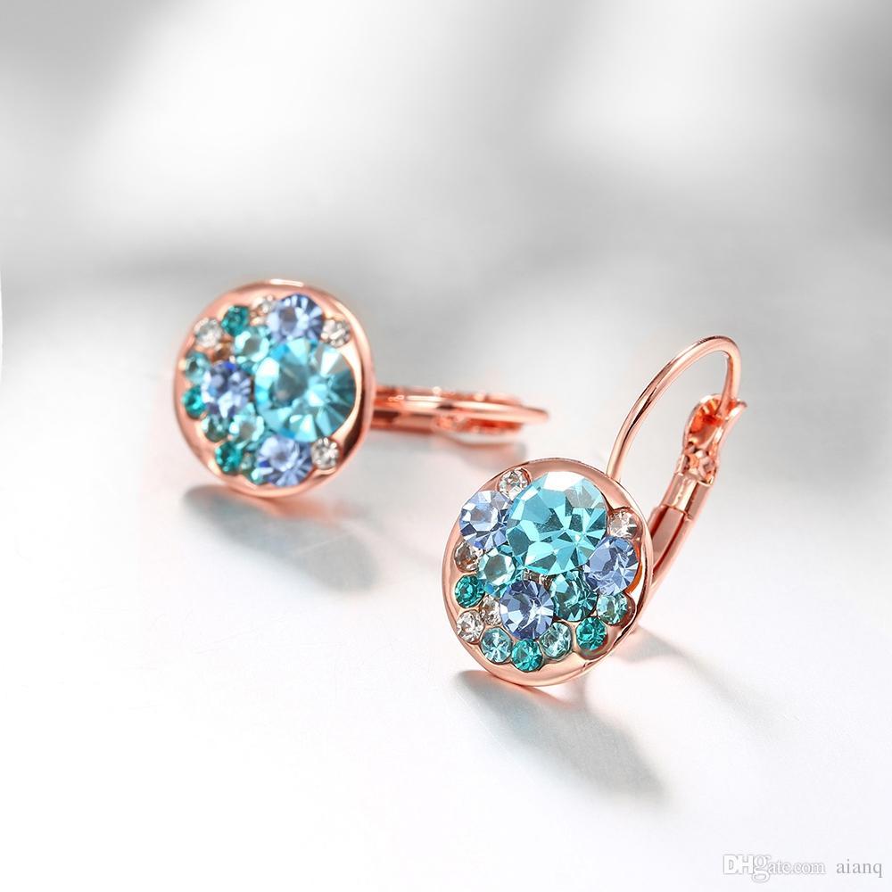 Nuevo diseño de la flor Stud Pendientes Mujeres Romantic Gold Color Trendy Forma redonda Pendientes Moda de la alta calidad Color Crystal Ear Ring