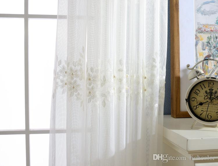 manual sewing beads white flower sheer curtains for living room balcony kitchen drapes voile tulle curtain for windows curtains for kitchen curtain liners - Sheer Drapes