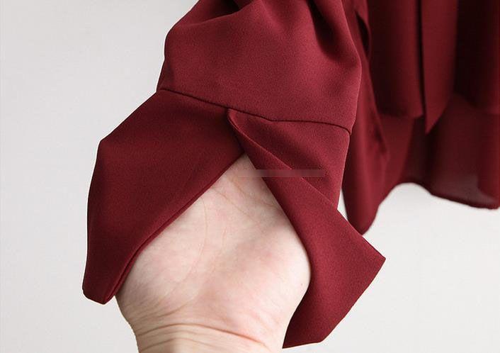 Hot Europe Mode Plus la Taille des femmes à manches longues en mousseline de soie Tops Blouse Tie Lace Up V Neck Shirt Causal Blouses de la Dame Noire Vin-rouge