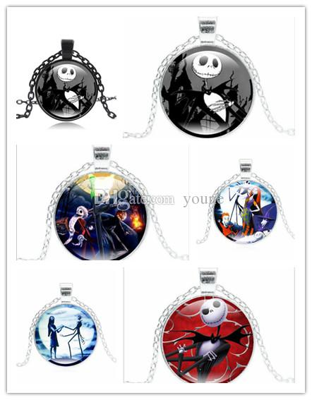 Hot! Punk Jewelry with Glass Cabochon Nightmare Before Christmas Pattern Choer Long Pendant Necklace for Women Party