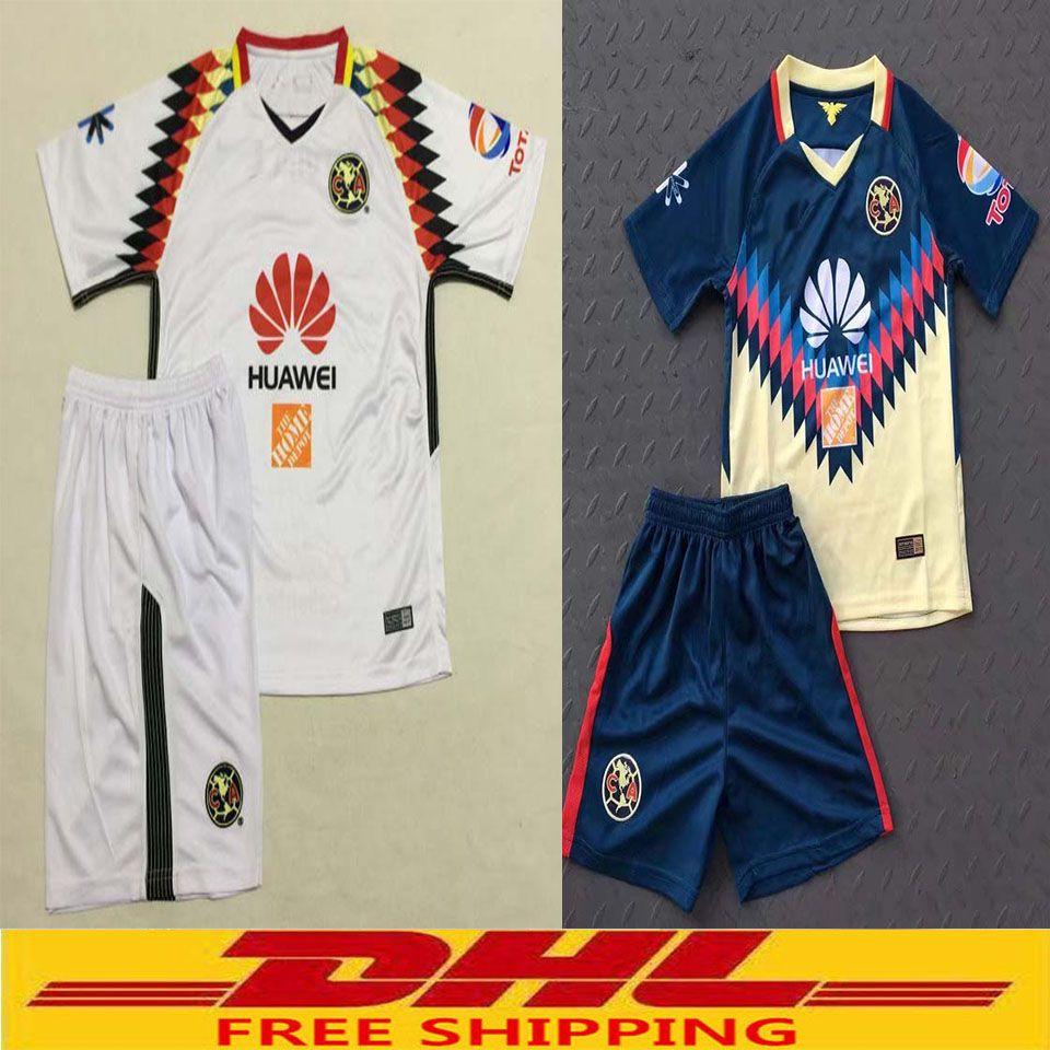 39cd8dff985 ... 2017 2018 kids Mexico Club America soccer jersey youth kits set 17 18  CA kids jersey ...