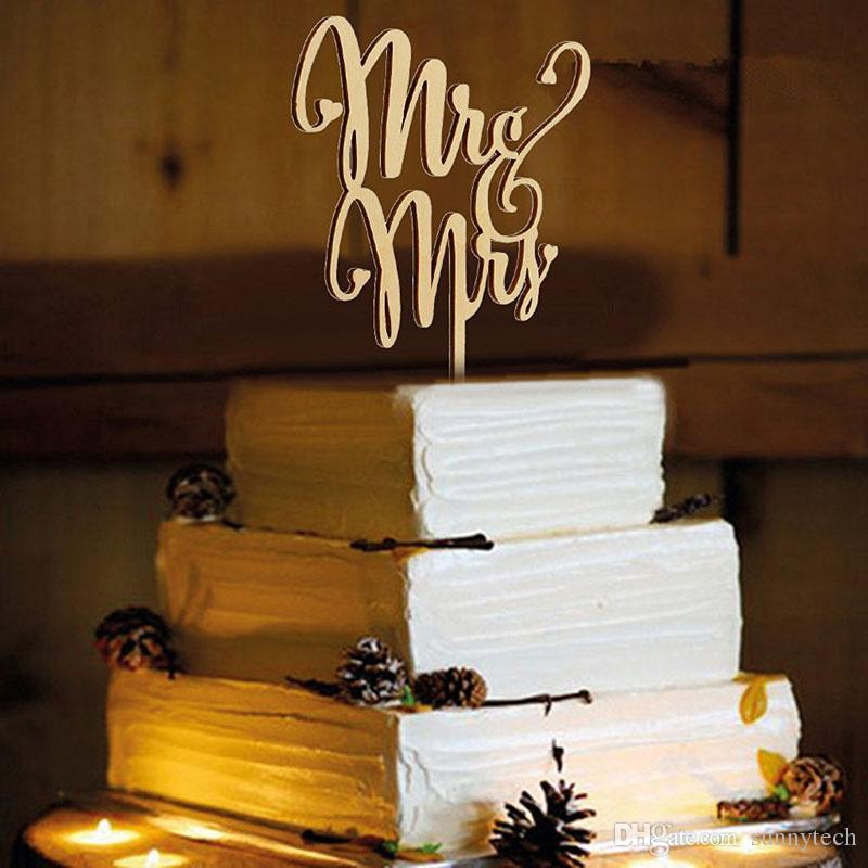Rustic Wedding Cake Topper Wood Mr And Mrs Casamento Engagement Party Cake Decoration ZA4015