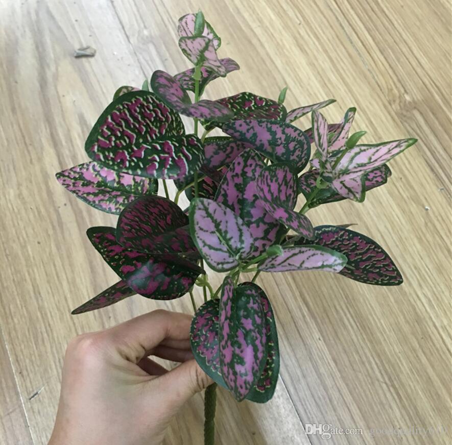 Тип-2 5 шт. искусственный Zebrina Commelina листьев ветви зелени для растений стены фон свадьба домашний офис бар декоративные