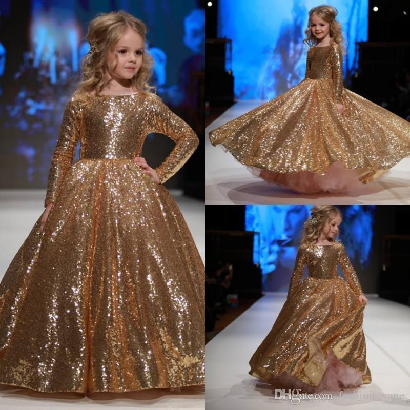 Gold Sequined Little Girls Pageant Dresses 2017 Zipper
