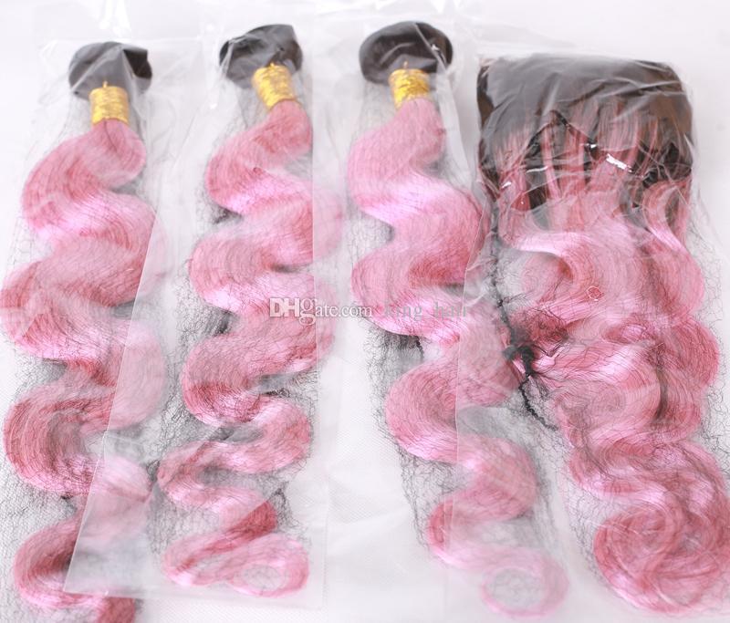 8A Malaysische Menschliche Reine Haarkörperwelle 3 Bundles Mit Ohr zu Ohr 13x4 Spitze Frontal Schließung Ombre # 1B / pink Gebleichte knoten