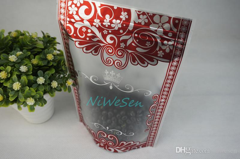 15x22cm, / 자립 매트 투명한 지 플락 백 붉은 꽃 인쇄, 말린 애플 패키지 Doypack, 녹차 보관 가방