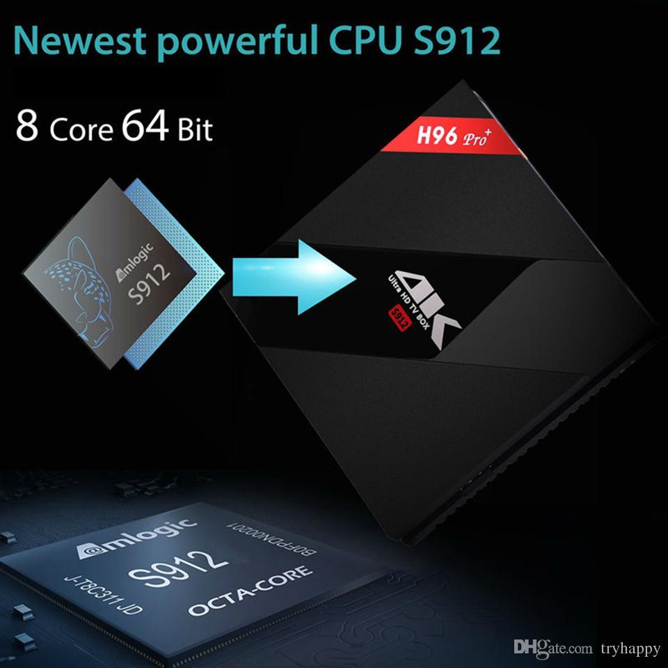 H96 Pro + 2G 3G DDR3 16G 32G Flaş 2.4G 5 GHz Wifi HD2.0 Iptv 4 K kutusu S912 tv kutusu Octa Çekirdek Android 7.1 akıllı android tv kutusu H96 ARTı Set üst