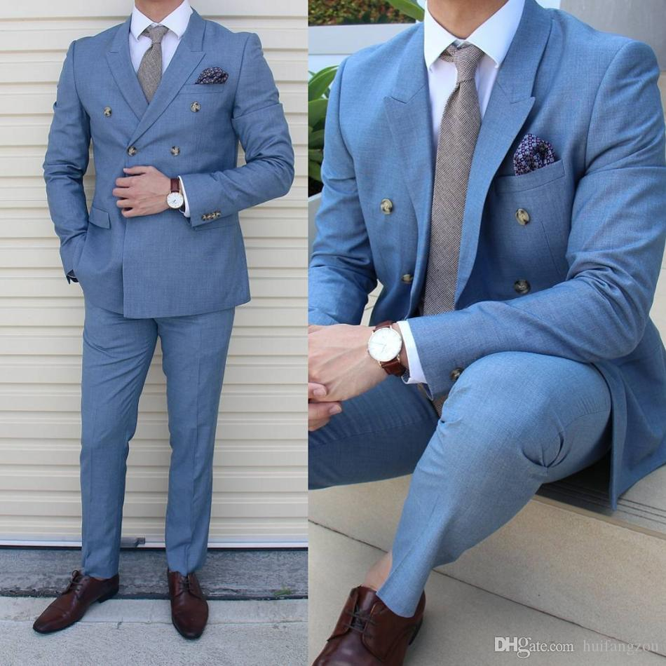Cool Blue Men Suits Tuxedos For Wedding Two Pieces Groom Bridal ...
