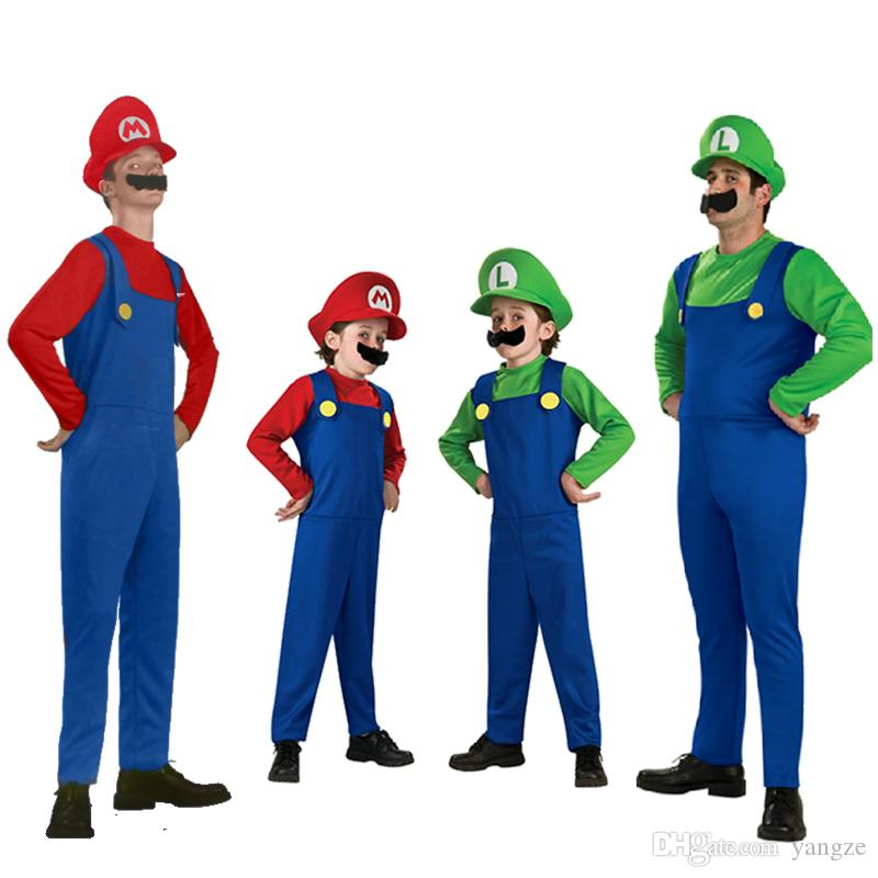 20 Set Cheap Halloween Cosplay Costumes Super Mario Luigi Brothers Fancy Dress Up Party Cute Costume For Adult Children CS003