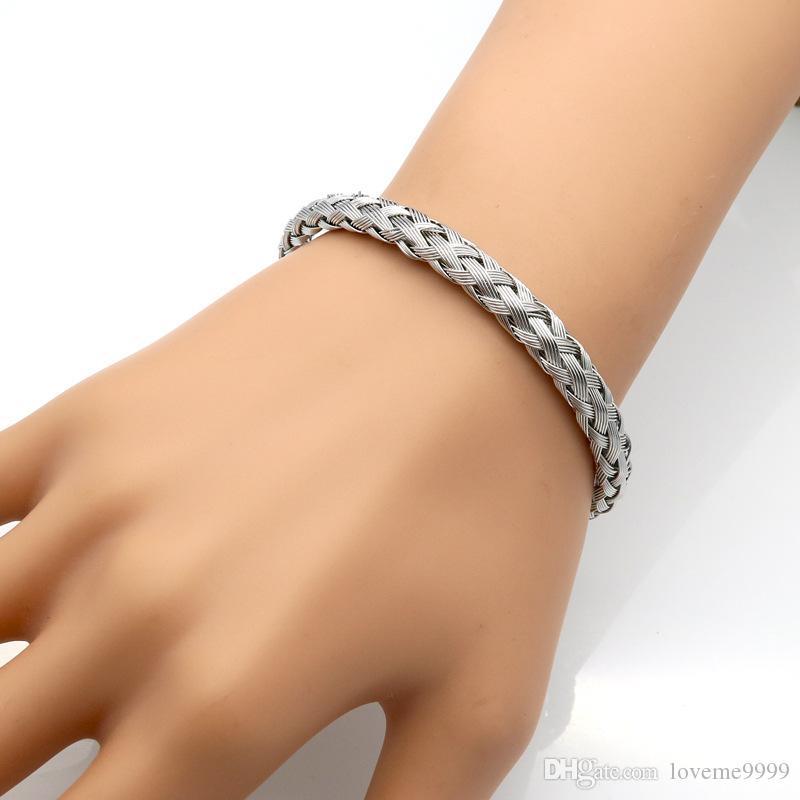 Оптовая роскошь нержавеющей стали витой цепи кабель браслет мужчины позолоченные открытые манжеты браслеты браслеты плетеные провода ювелирные изделия