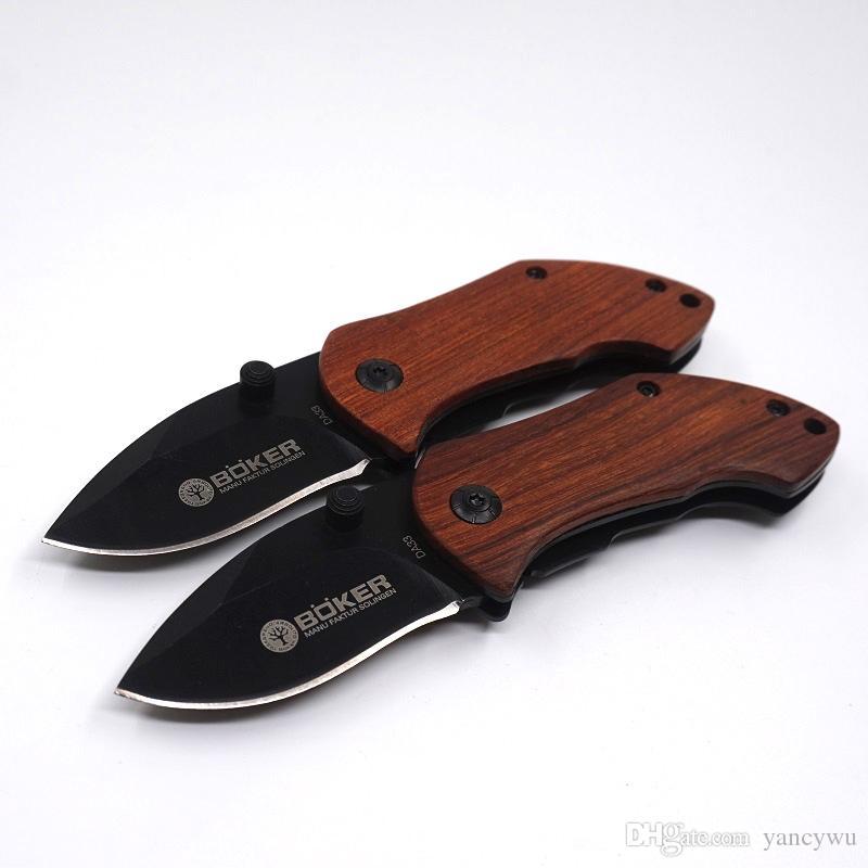 DA33 Couteau À Lame Pliable EDC Mini Couteau À Poche Manche En Bois Camping Couteaux De Survie Avec Retour Clip Randonnée Outils Meilleur Cadeau