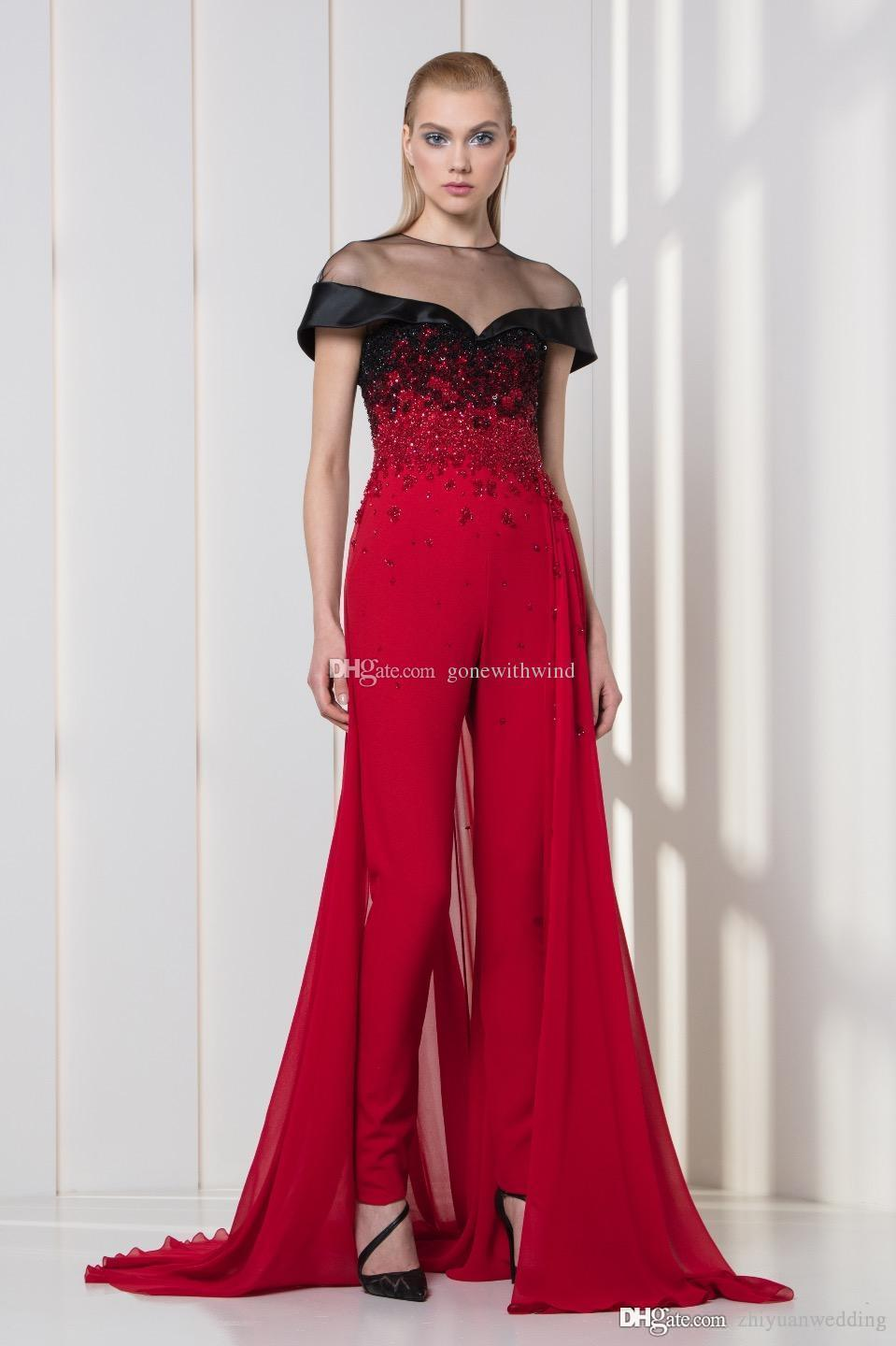 Overskirt Jumpsuit Evening Dresses 2018 Formal Dresses Ready To Wear Heavily Embroidery Crystals ...
