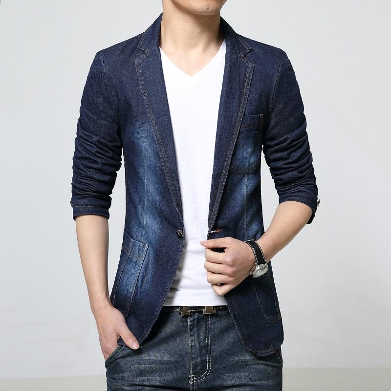 2019 Wholesale New 2016 Spring Dark Color Casual Denim Blazer Men