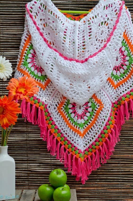 2018 Granny Square Hooded Crochet Poncho Cape With Fringe Womens