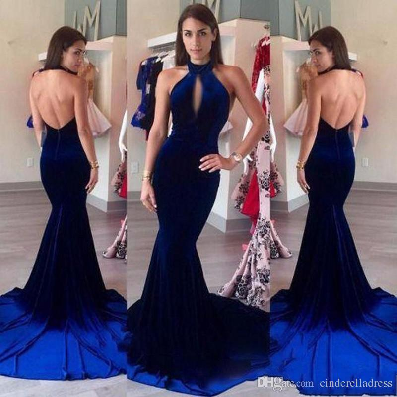 112385f4ec3 Elegant Hot Velvet Royal Blue Halter Mermaid Evening Dresses 2017 Sexy  Backless Long Sweep Train Cheap Prom Dresses Front Hollow Out Gowns Evening  Dresses ...