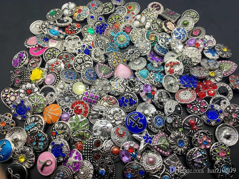 GroßhandelsLos-Mischungs-Art 18MM Verschluss-Cham-Knopf-austauschbarer Diy Ingwer-Verschluss-Schmucksache-Sitz-Verschluss-Charme-Armband-Anhänger-Ring usw.