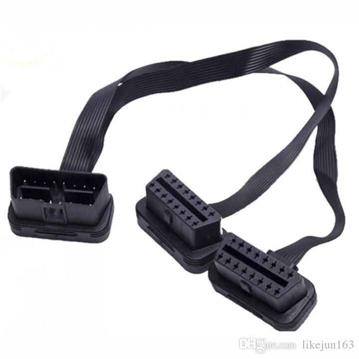 30 cm nero 2in1 flessibile prolunga OBD2 plug connettore 16 pin strumenti diagnostici obd 2