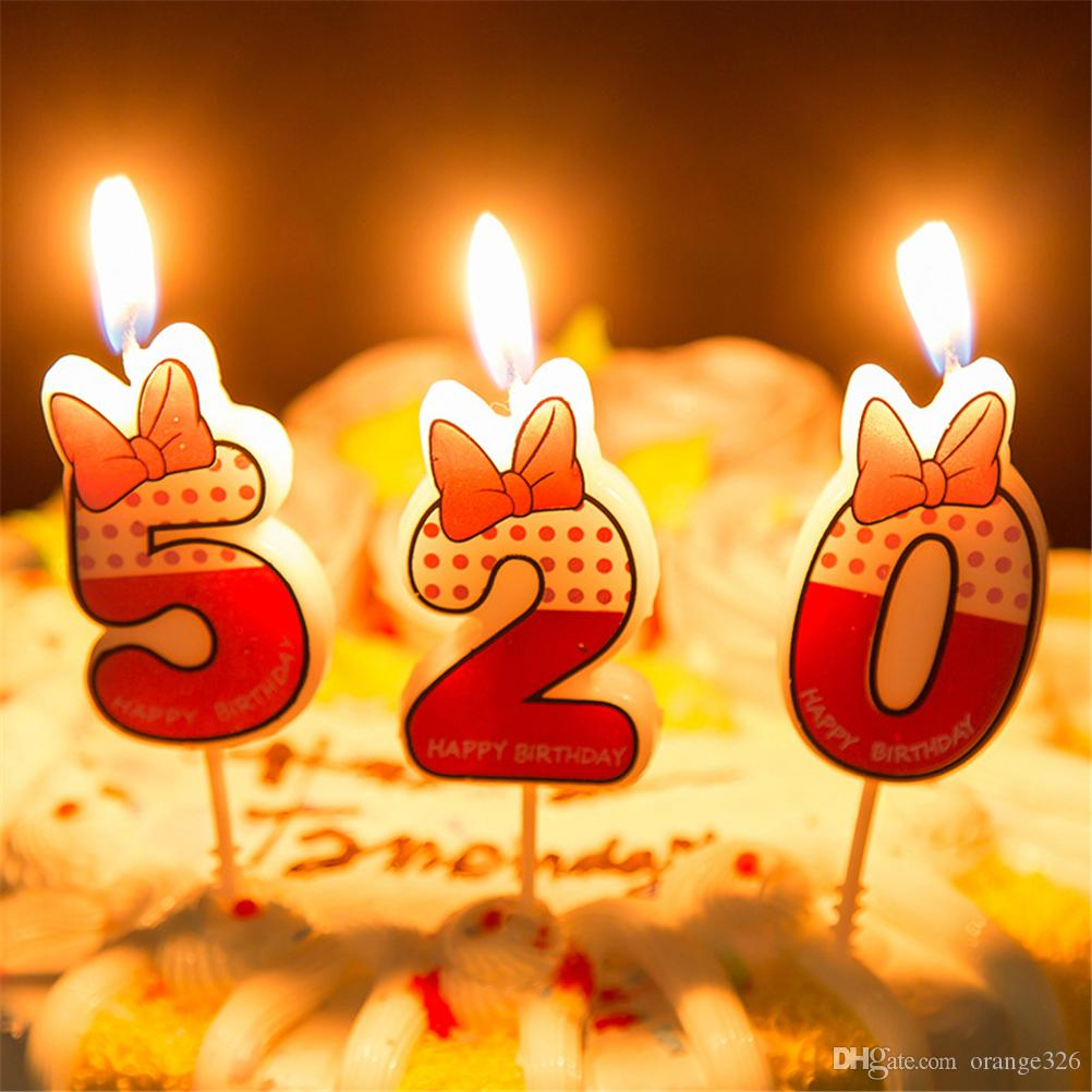 Cute Boys Girls Happy Birthday Candle number 0-9 Anniversary Cake Numbers Age Candle Party Supplies Decoration