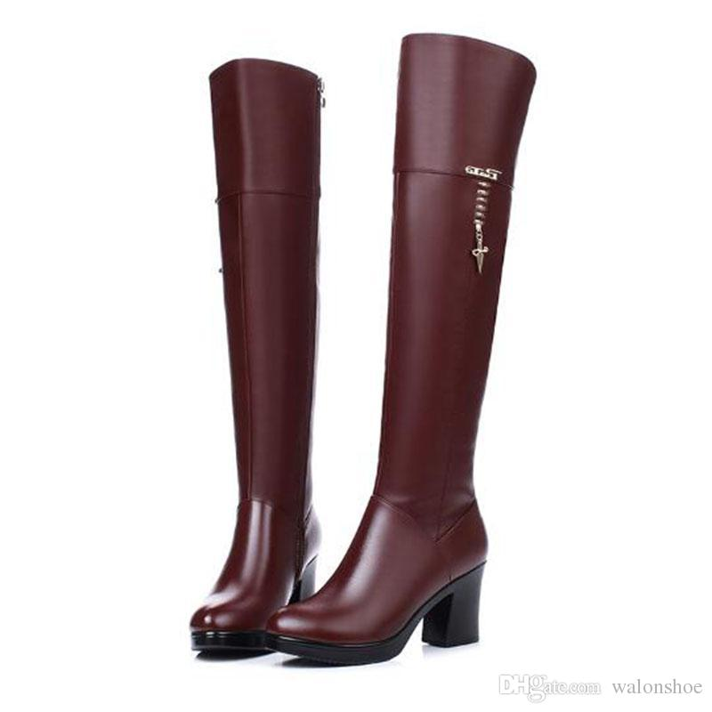 e4e07805fa9 Women Luxury Brand Chunky Tall Boots Ladies Thick Fur Leather Knee High  Boots Warm Winter Martin Boots Outdoor Sneakers Mid Calf Boots Womens Ankle  Boots ...
