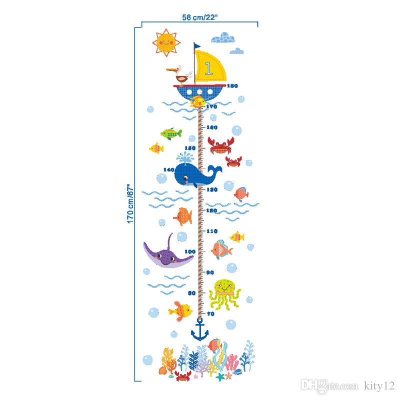 Hot wholesale New Underwater World Kids Growth Chart Height Measure For Home/Kids Rooms DIY Decoration Wall Stickers