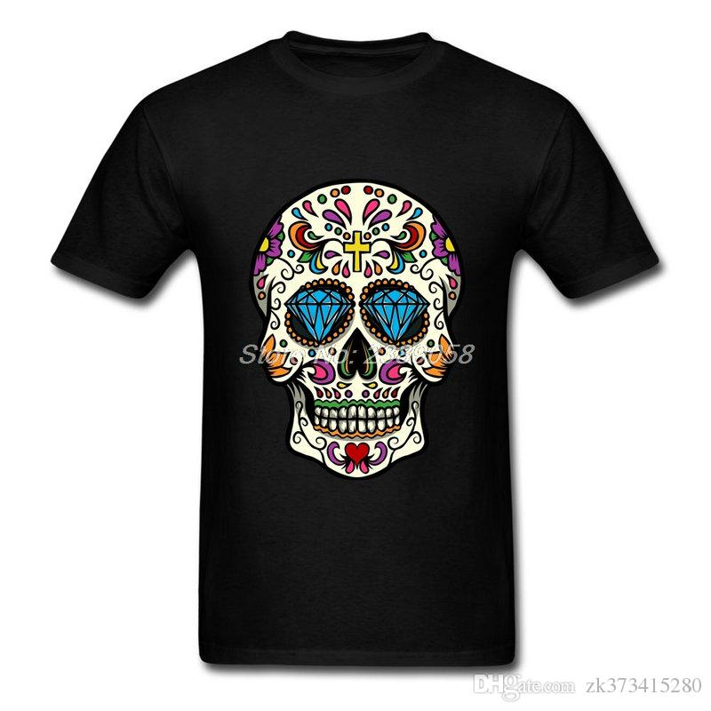 Luxury brand mens t shirts high quality sugar skull for Luxury t shirt printing