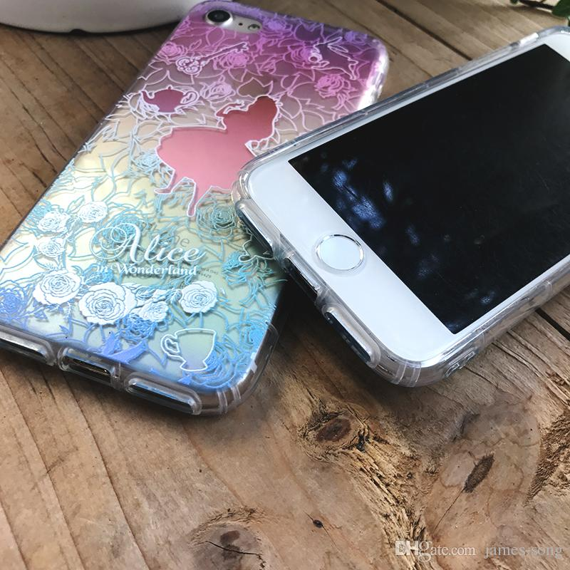 iPhone 11 Pro XS Max XR X 6 7 8 Plus 3D in rilievo Acquerello Alice Marmaid Tinker Campana Fiore Resistente agli urti Custodia morbida in silicone TPU