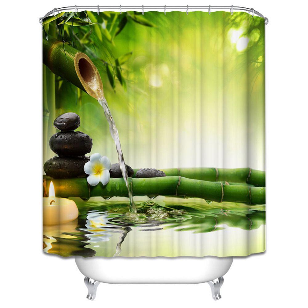 ... Duschvorhang Jasmin Blumen Badekurort Zen Grün Bambuskerzen  Entspannungs Ansicht Magischer Duschvorhang Badezimmer Dekor Von Douglass,  $37.07 Auf De.