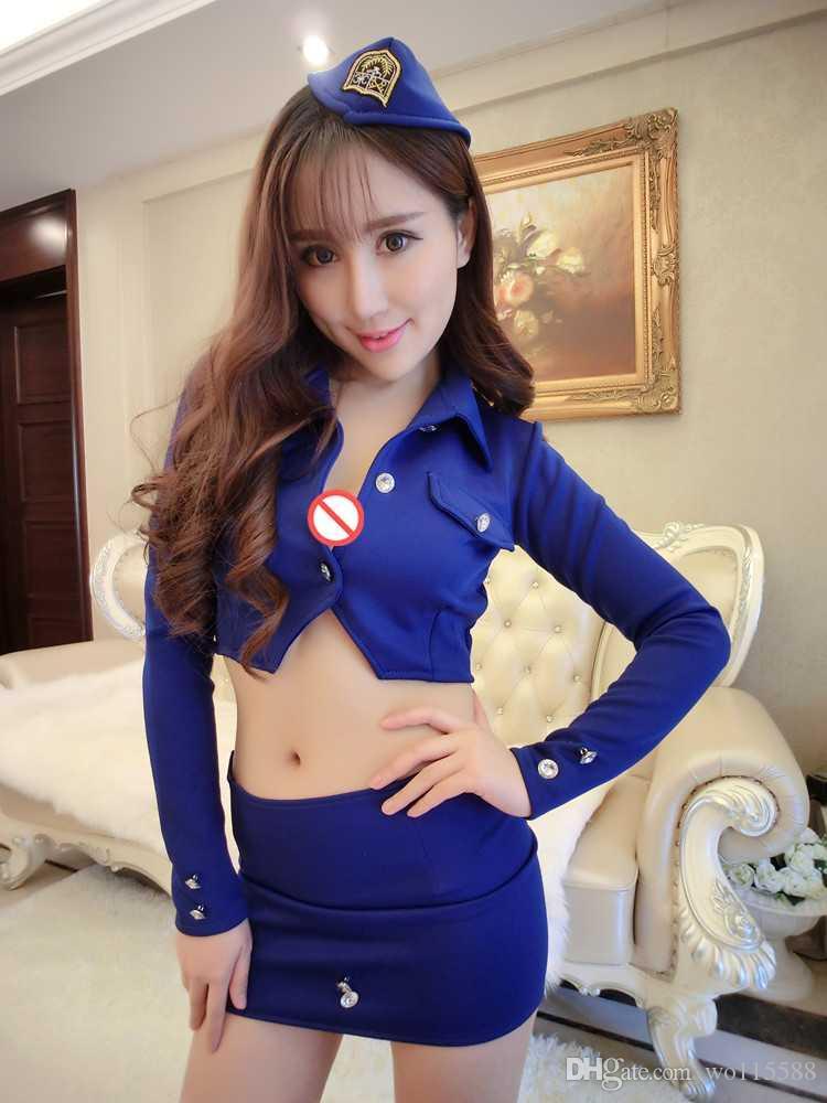 Frete grátis lingerie sexy sexy aeromoça policial instrutor boate saia terno OL uniforme trajes de uso tentação de jogos noturnos