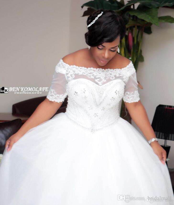 Plus Größe 2019 Kristall Appliqued Afrikanische Brautkleider Kurzen Ärmeln Perlen Spitze Brautkleider Korsett Zurück Hochzeit Bräute Kleid