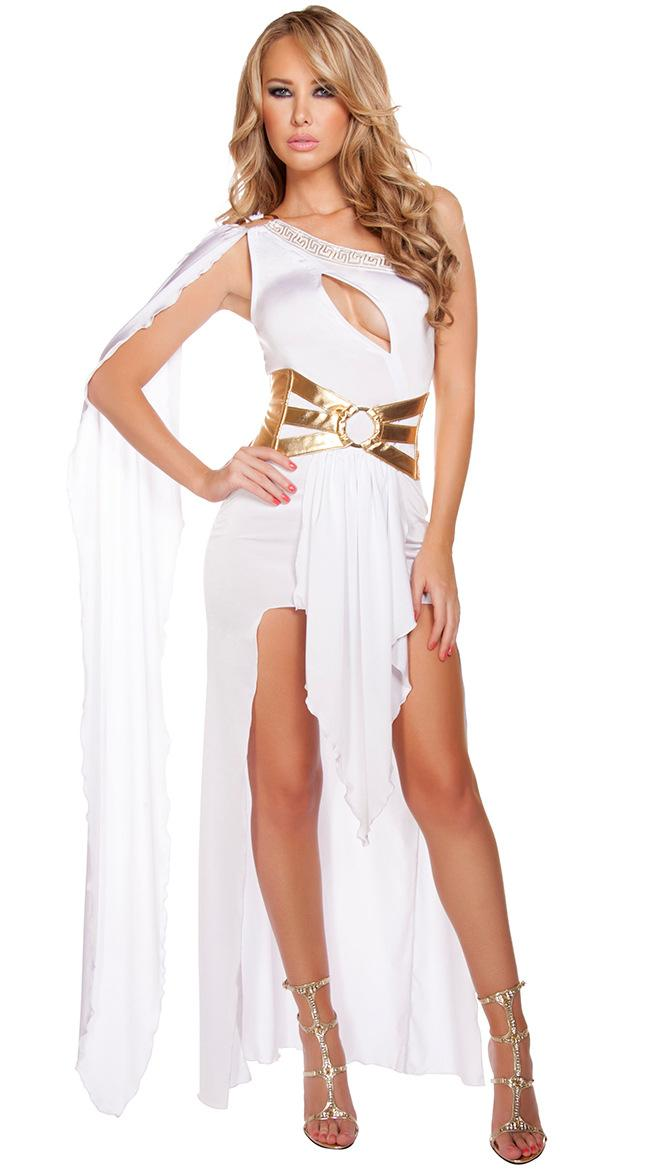 Women Sexy One Shoulder Hollow Goddess Cosplay Costume Clubwear party Cocktail Dress PS765
