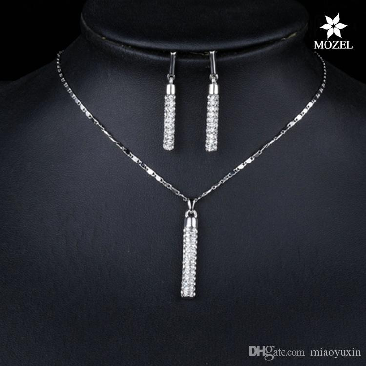 Wholesale MOZEL Fashion Swarovski Elements Gold/Platinum Plated Clear Crystals Drop Earrings and Pendant Necklace Women Wedding Jewelry Sets