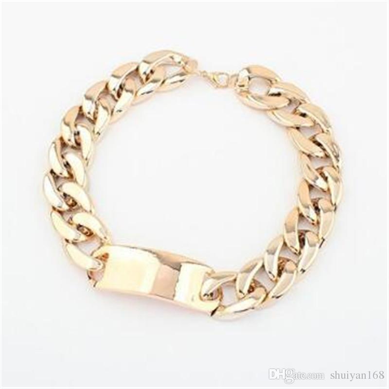 Jóias de luxo de Prata Estilo Punk Ouro para As Mulheres Liga de Alumínio Dourado ID ID Chunky Cadeia Gargantilha Colar Curto para As Mulheres Do Desgaste Do Partido