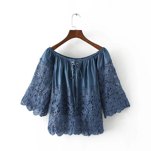 8b827d3c8c5f Women Denim Lace Shirt Off Shoulder Crop Tops Slash Neck Hollow Out Bow  Jeans Wear Blouse Blue Blusas Camisas Clothes Tee Shirt Designs Humorous T  Shirts ...