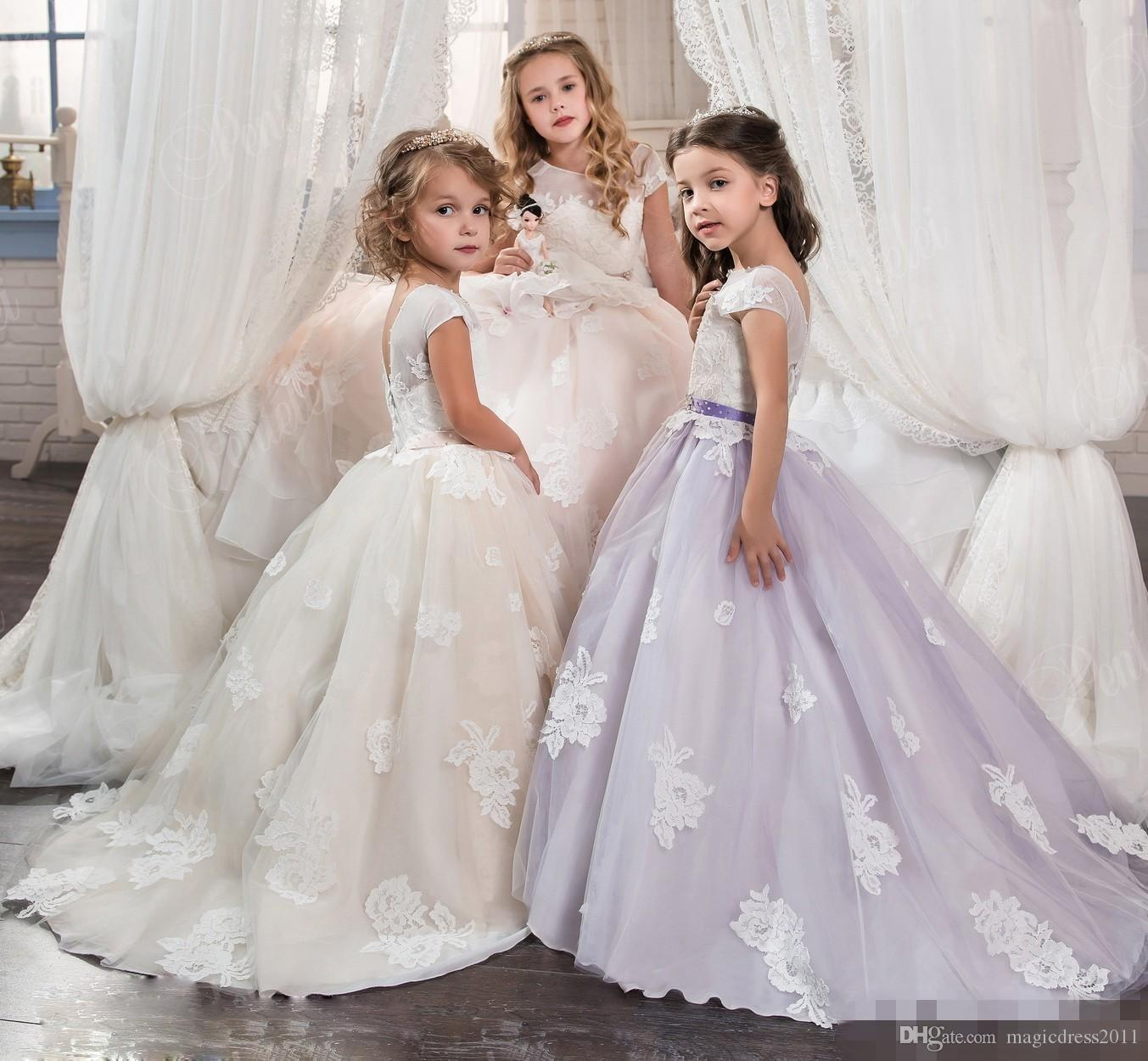 Weddings & Events Flower Girl Dresses Devoted Long Little Bride Pageant Holiday Dress For Girls Corset Kids Graduation Ball Gown Puffy Tulle Dress Prom Flower Girl Dress Pretty And Colorful