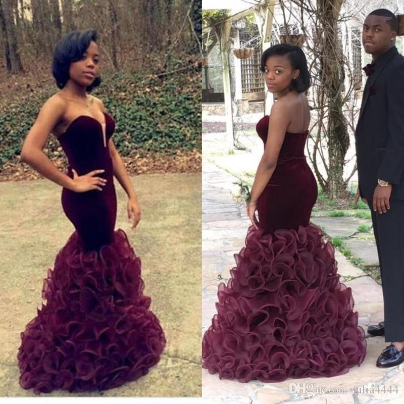 Burgundy Mermaid Prom Dresses 2017 Cheap Long Velvet African Arabic