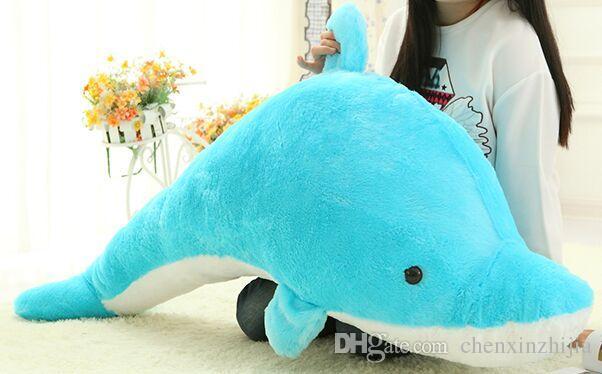45CM 60CM 100CM riesiges enormes knuddeliges Plüschtier-Plüsch-reizende große Delphinpuppe / blaues Rosa Freies Verschiffen