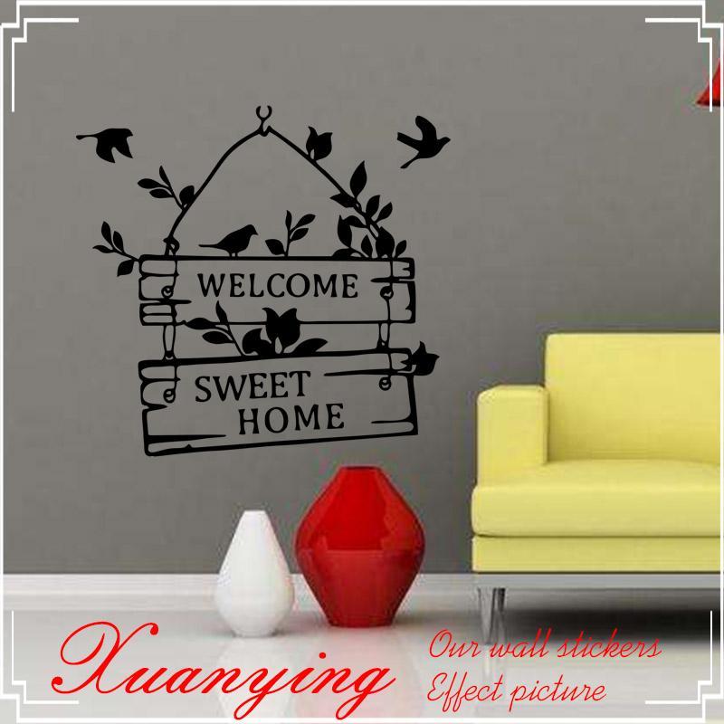 4c426d0693 Welcome Sweet Home Birds Quote Wall Vinyl Stickers Art Room Decals ...