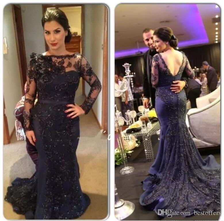 Navy Blue Long Sleeve Evening Dresses 2017 Arabic Dubai Vestido De Soiree V Back Full Lace Long Prom Party Gowns Court Train BO8853