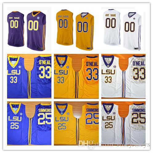 ebde8476340 ... jersey 2017 custom mens lsu tigers college basketball yellow purple white  personalized stitched any name any