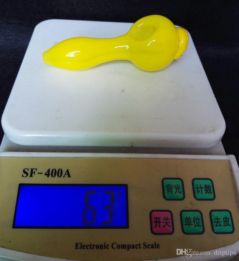 USA Color 4 inch Yellow Evil Eye Glass Spoon Pipes tabacco da fumo Accessori